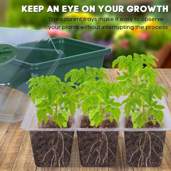 AMKOY 6/12 Cells Seed Starter Kit Plant Seeds Grow Box cSeedling Trays Germination Box with Dome and Base