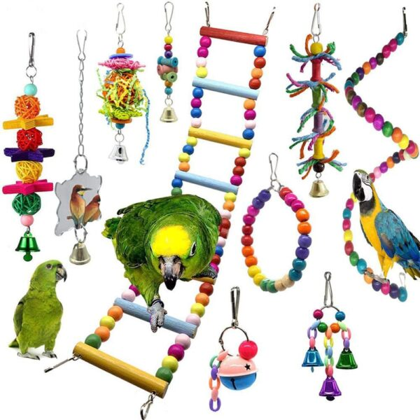 10 Packs Bird Swing Chewing Toys Parrot Hammock Bell Toys Parrot Cage Toy Bird Perch with Wood Beads Hanging for Small Parakeets