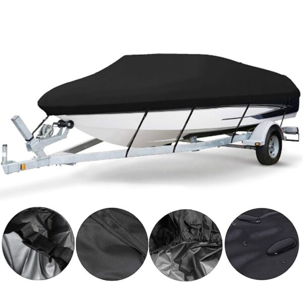 1 Set Yacht Boat Cover 11- 22FT Barco Boat Cover Anti-UV Waterproof Heavy Duty 210D Marine Trailerable Canvas Boat Accessories