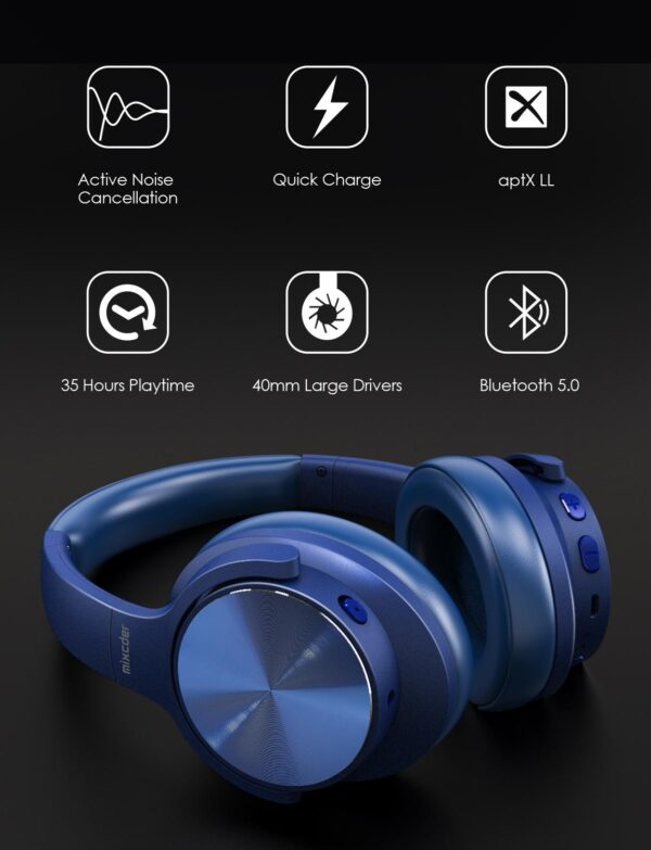 Mixcder E9 PRO Aptx HD Headphones Wireless Bluetooth Active Noise Cancelling Headphone USB Fast Charging with MIC Blue Headsets