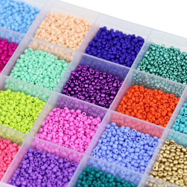 24000 Pcs Glass Seed Beads 2MM Small Beads for Jewelry Making 24 Assortment Opaque Color Hole 0.6mm Bracelets Necklaces DIY Craf