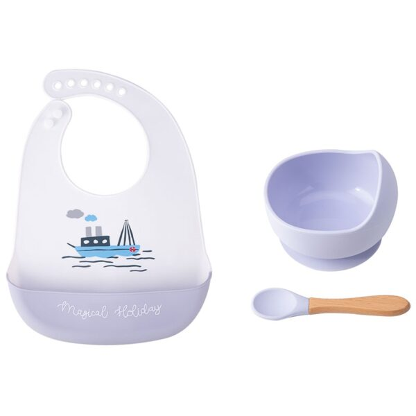 1set Silicone Baby Feeding Bowl Tableware Waterproof Spoon Non-Slip crockery BPA Free Silicone Dishes For Baby Bowl Baby Plate