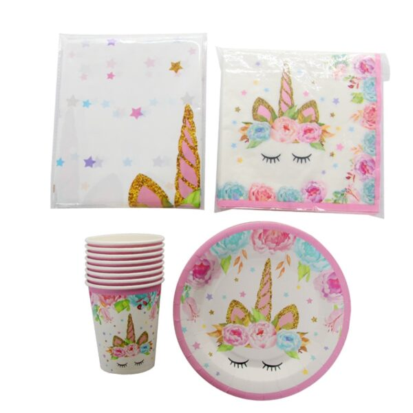 93pcs Unicorn Disposable Tableware Birthday Party Decor Paper Plates Napkin Cups Unicorn Party Supplies Baby Shower Home Decor