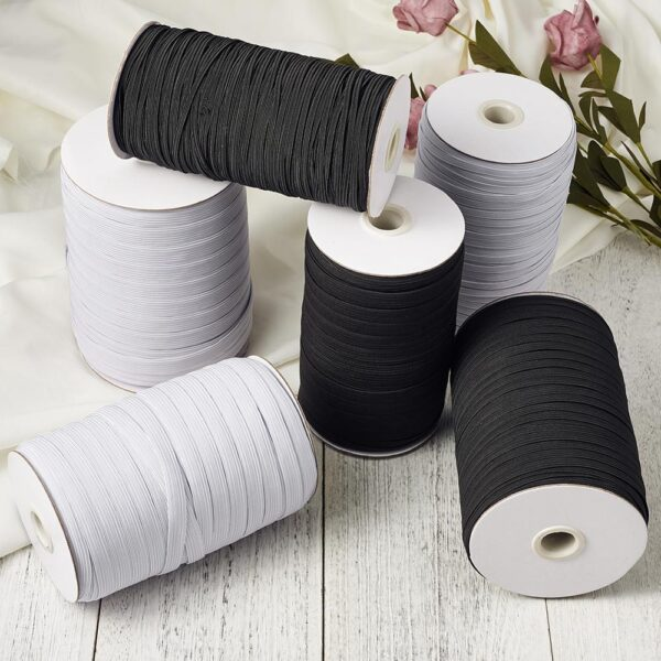 4mm 5mm 6mm 8mm 10mm 12mm 14mm Woven Spool White Flat Elastic Cord Band Sewing Knitting Rubber Stretch Rope Craft DIY Mask