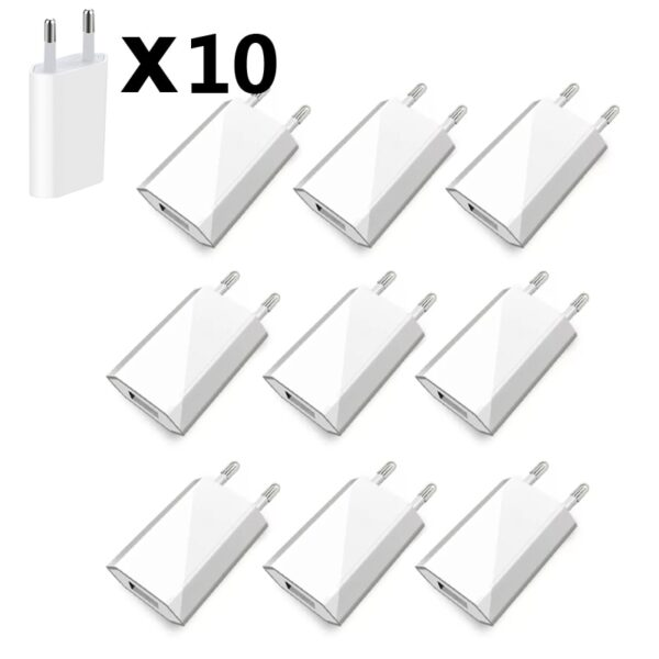 10pcs/Lot EU Plug Wall AC USB Charger For Apple iPhone X XS MAX 8 Travel Charger Adapter For iPhone 3GS 4 4S 5 5S 6 6S 7
