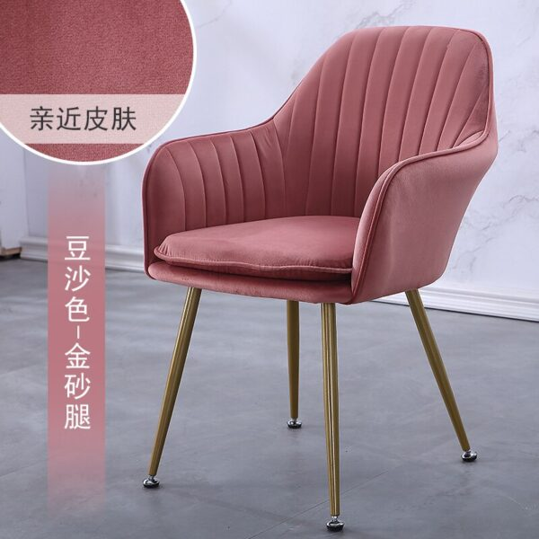 Nordic INS Style Iron Art Luxury Dining Chair Nail Armchair Girl Heart Makeup Chair Modern Simple Home Sofa Lazy Lounge Chair