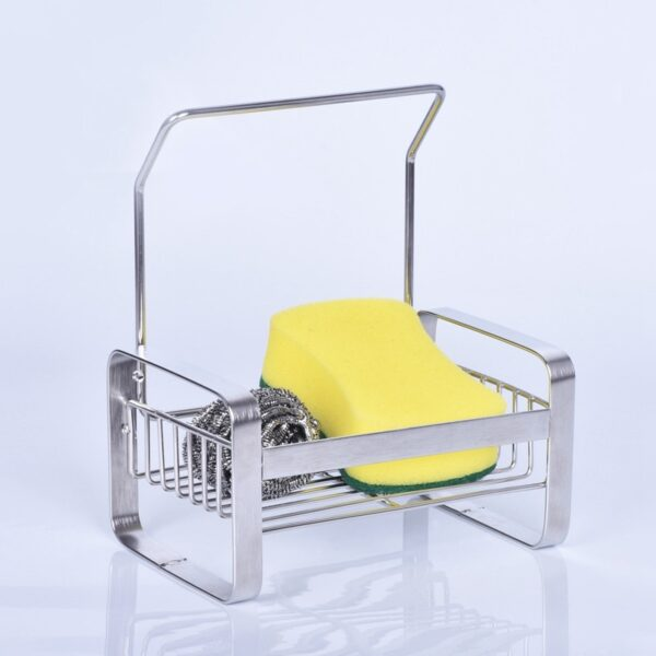 Large Sponge Holder Kitchen Sink Caddy Cleaning Brush Soap Organizer Rack, with Drain Tray