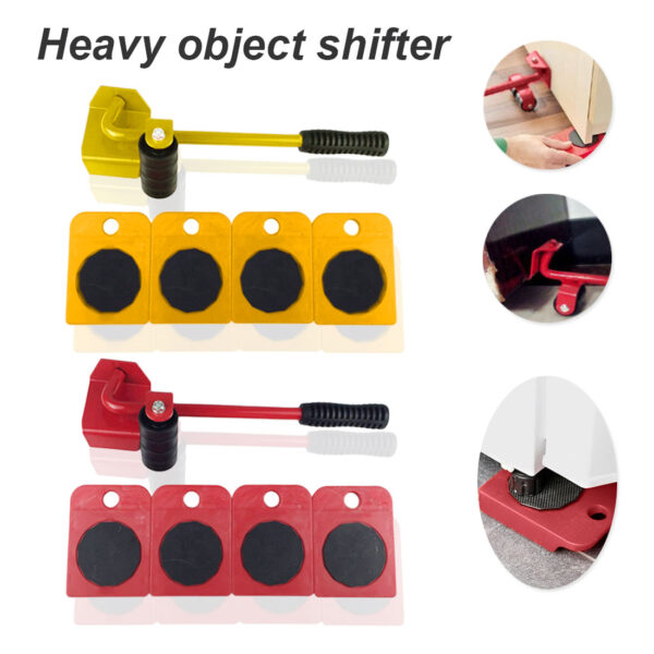 Easy Furniture Lifter Mover Tool Set Heavy Stuffs Moving Hand Tools Set Wheel Bar Mover Device Furniture Transport Tool