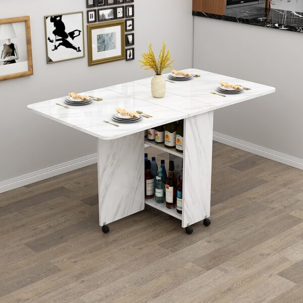 Wooden Folding Dining Table With Wheels Living Room Kitchen Tables Furniture Eco-friendly Wood Movable Storage Wall Table