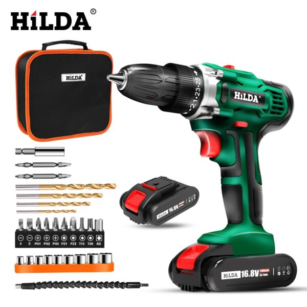 Cordless Drill Electric Screwdriver Mini Wireless Power Driver DC Lithium-Ion Battery 3/8-Inch power tools