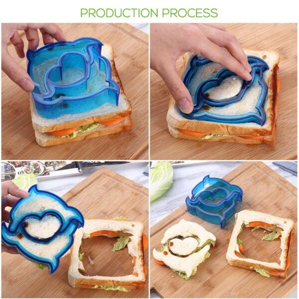 Kitchen Accessories Tools DIY Sandwich Cutters Set Stainless Steel Vegetable Molds Plastic Bread Cutters For Kid Kitchen Gadgets