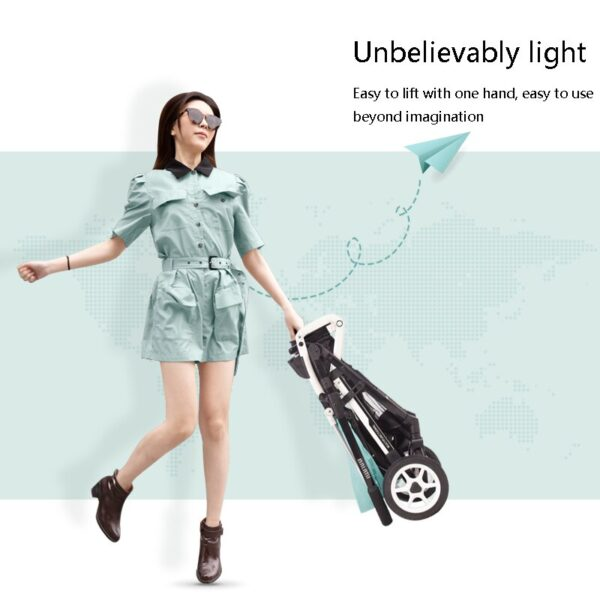 Baby stroller high landscape light two-way trolley can sit reclining folding shock absorber baby stroller