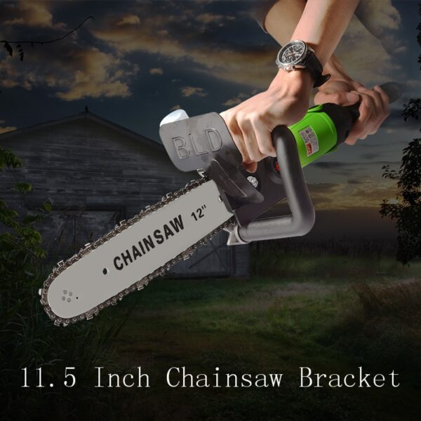 11.5/12 Inch Chainsaw Bracket Changed 100 125 150 Electric Angle Grinder M10/M14/M16 Into Chain Saw Woodworking Power Tool Set