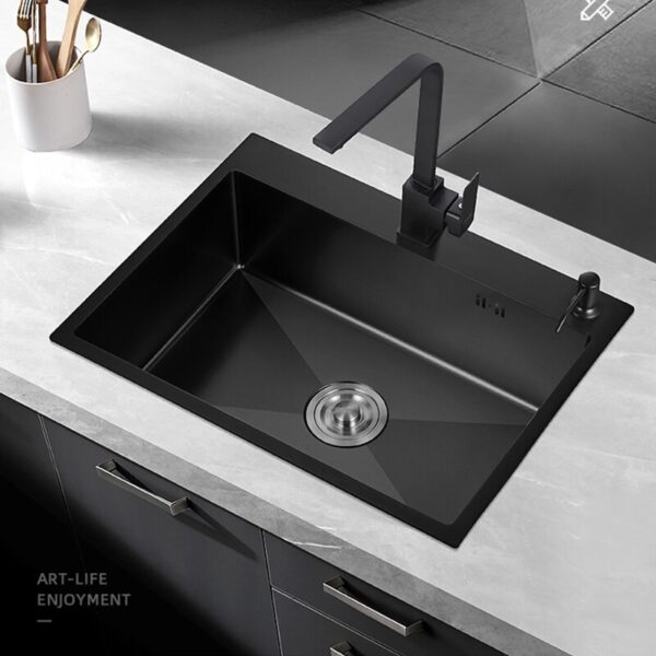 Large Size Stainless Steel Kitchen Sink Single Bowl Basin Sink For Kitchen Fixture Home Improvement With Faucet Accessories