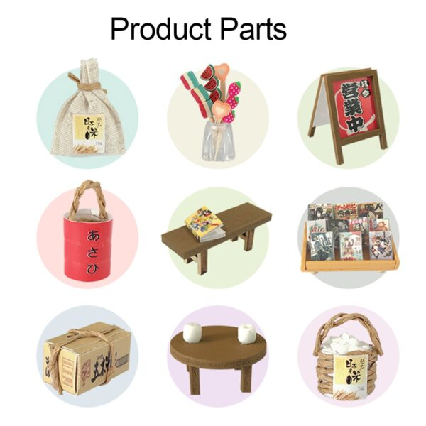 Wood DIY Assembly Miniature LED Japanese Grocery Store Doll House Model Kids Home Handmade Toy Gift