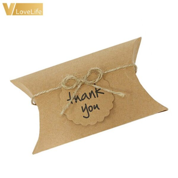 Pillow Wedding Party Favor Paper Gift Box Candy Boxes Supply Accessories Favour Kraft Paper Gift Boxes Free Shipping 100pcs