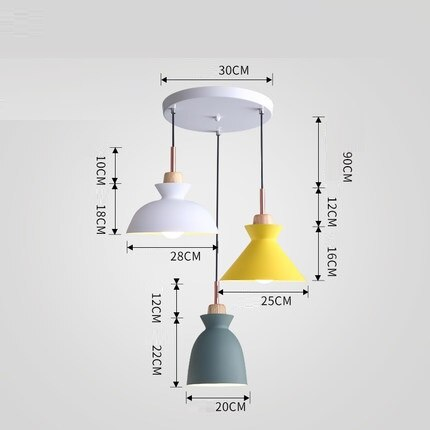 Set of 3 Dining Table Lamp Lights Macaroon Colorful LED Modern Pendant Lamp Hanglamp for Kitchen Island Ceiling Room Lighting