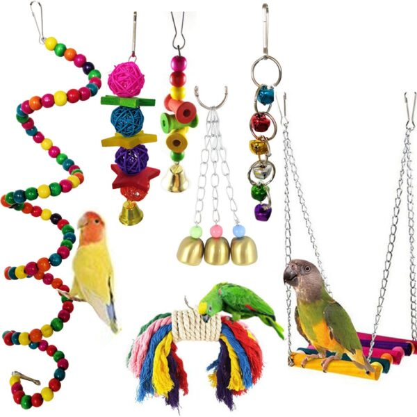 7PCS/Set Combination Parrot Toy Bird Articles Parrot Bite Toy Bird Toys Parrot Funny Swing Ball Bell Standing Training Toys