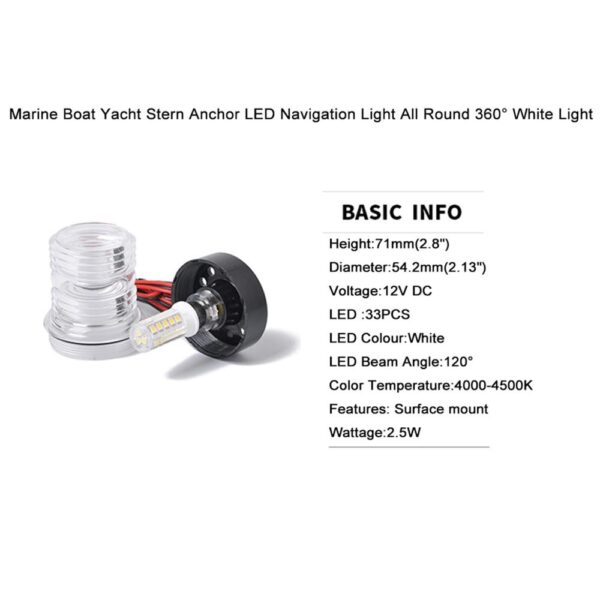 12V DC Car Signal Indicator Marine Boat Yacht Stern Anchor LED Navigation Light All Round 360° White Light Auto Accessories