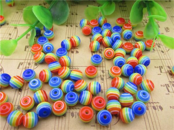 6mm 8mm 10mm 12mm Rainbow Colorful striped beads Round Resin Beads for Handmade Necklace Bracelet Jewelry Making DIY Accessories