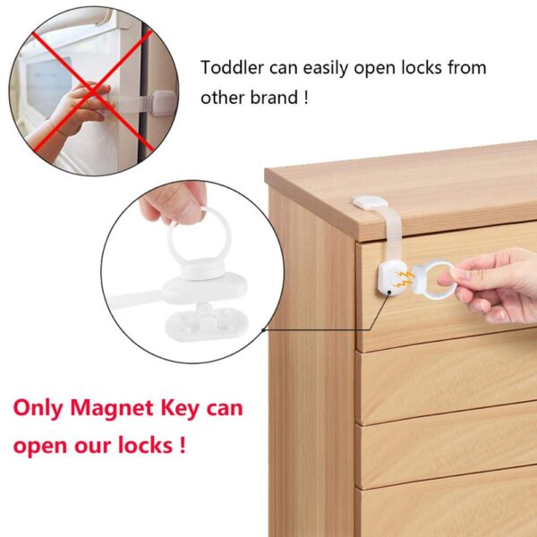 10Pcs Child Protection Cabinet Lock Magnetic Baby Safety Refrigerator Drawer Lock For Furniture Kids Home Security Products