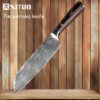 XITUO Kitchen Knives Damascus Veins Stainless Steel Knives Color Wood Handle Paring Utility Santoku Slicing Chef Cooking Knife