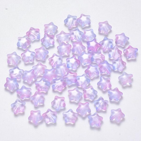 100Pcs Transparent Spray Painted Glass Beads Five-pointed Star Rainbow Color Beads For DIY Jewelry Making Findings 8x8.5x4mm