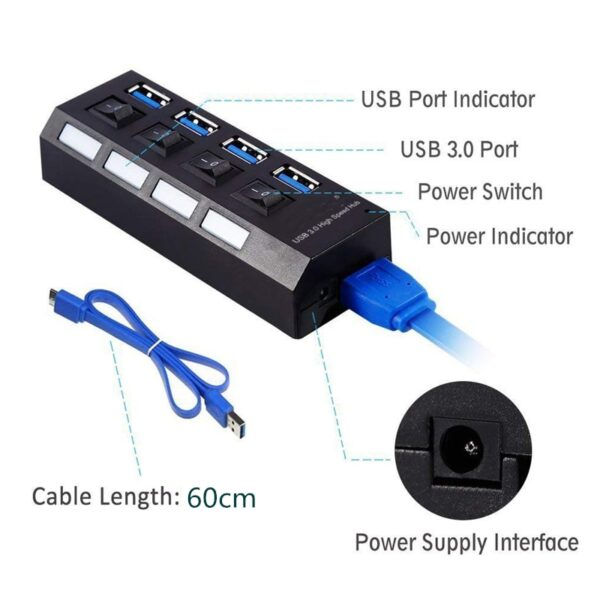 USB HUB 3.0 4 7 Port Usb Multi Splitter With Power Switch Supply Adapter For Macbook Pc Computer Laptops Notebook Accessories