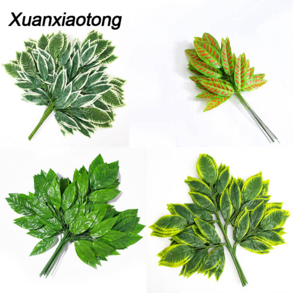 Xuanxiaotong 12pcs/set Green Mango Leaves Artificial Plants Tree Branches for Home party Decoration Wedding Scene Decor