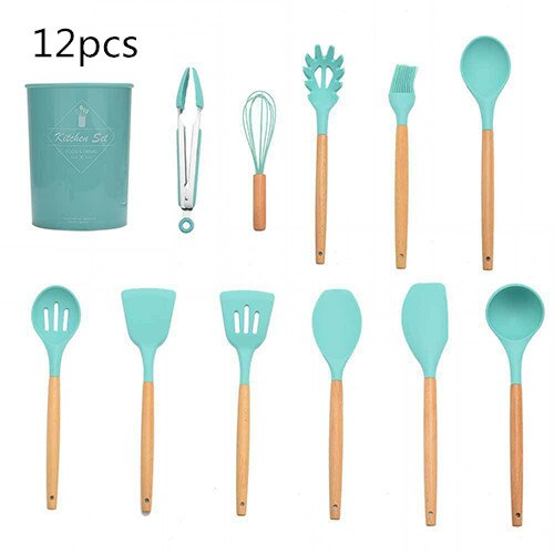 Non-stick Silicone Kitchenware Set Cooking Utensils Tools Spoon Spatula Heat Resistant Egg Beaters Kitchen Gadgets Accessories