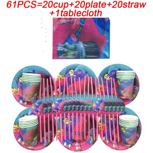 Troll Party Supplies Kids Trolls Birthday Party Decoration Banner Flags Baby Shower Party Paper Cup Plates Tablecloth Table Set