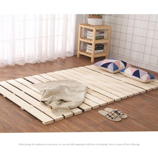 Folding Solid Wood Bed Breathable Damp-proof Protect Waist Support Slats Beds For Tatami Bedroom Furniture