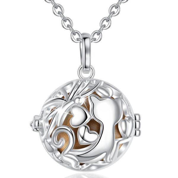 EUDORA 20mm Fox Cage Harmony Ball Musical Pendant Angel Caller Bola Necklace For Baby Pregnancy Jewelry Gift Idea K371N20