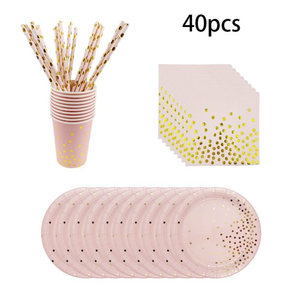New Year party decoration rose gold disposable tablecloth plate supply baby shower party birthday party supplies wedding