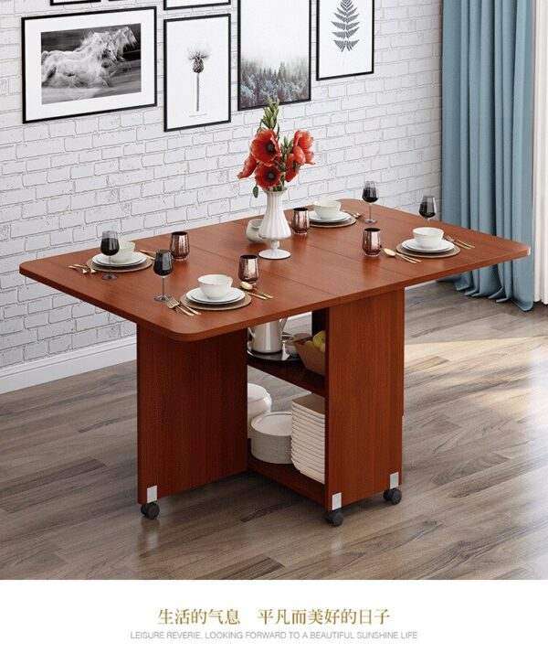 New creative solid wood folding movable dining table living room kitchen stuff storage home furniture free shipping