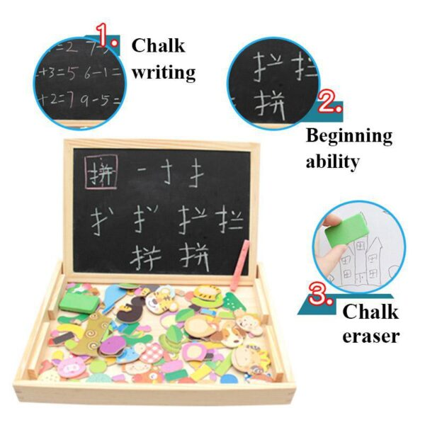 Wooden Montessori Educational Magnetic Jigsaw Game Toys Gift 100pcs Children's Magnetic Animal Puzzles Circus Drawing Busy Board
