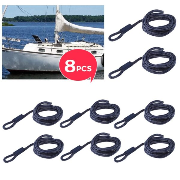 """8 Pcs Boat Fender Line 0.24"""" Thickness 5 FT Double Braided Fender Line Marine Mooring Line For Yacht Boat Accessories Marine"""