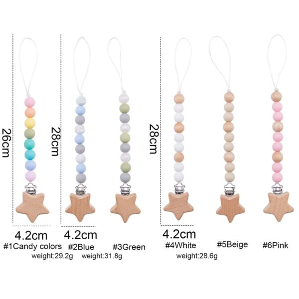 1pc Baby Pacifier Chain Star Wood Clips Dummy Pacifier Clips Silicone Beads Nursing Teething Gift for Newborn Baby Boy Girl